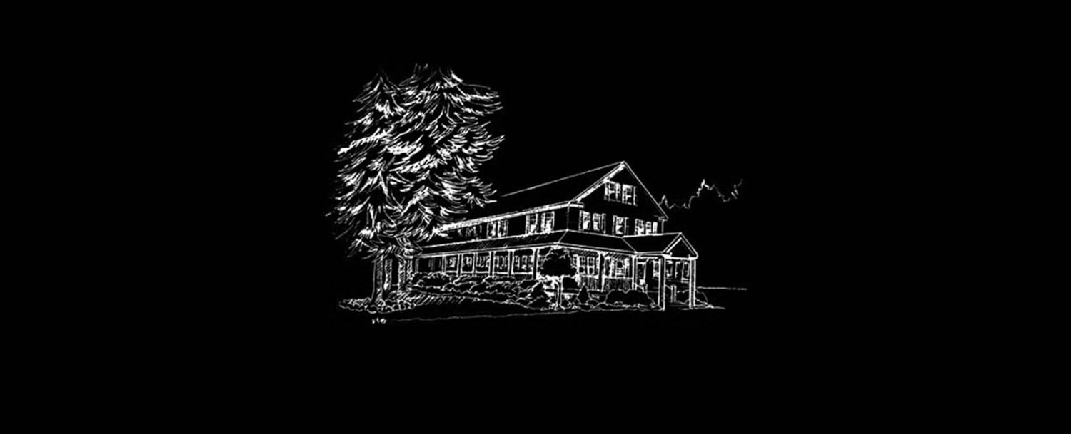 white sketch of lodge on black background