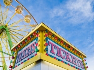 Tickets Stand with Ferris Wheel Behind