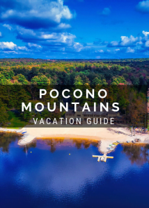 "graphic featuring a picture of lake naomi with the text ""pocono mountains vacation guide"" on front"