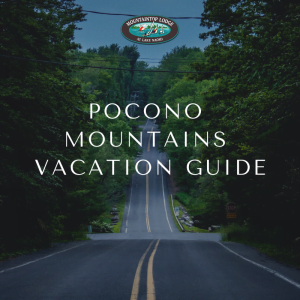 "graphic of road in poconos with text ""pocono mountains vacation guide"" on top"