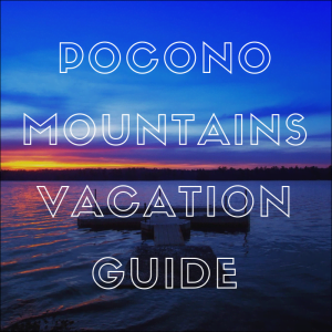 "view of lake naomi with words ""pocono mountains vacation guide"" on top"