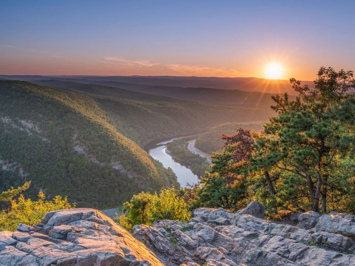 view of the delaware water gap national recreation area at sunset