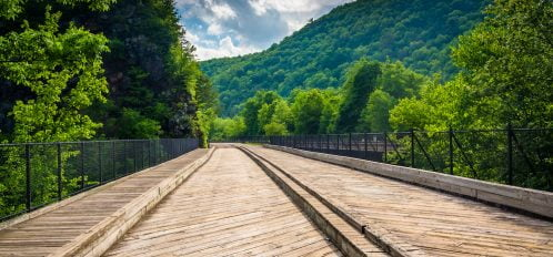 Bridge and mountains in Lehigh Gorge State Park, Pennsylvania.