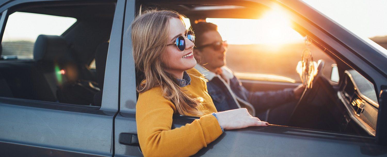 Young hipster couple enjoy sunset roadtrip