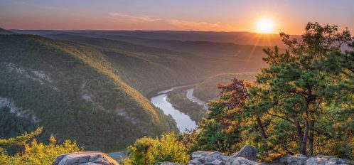 Aerial view of the Delaware Water Gap.