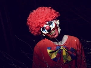 Creepy clown for haunted places